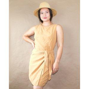 (9) vtg august silk desert gold asymmetrical dress